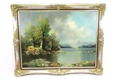 Artist Signed Oil on Canvas Framed Painting Munich, Germany, Mountains, Water