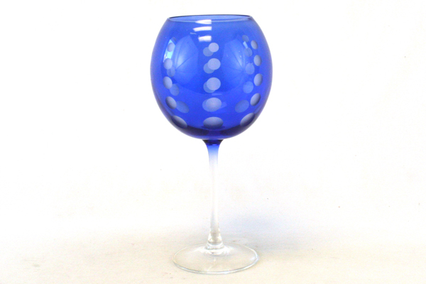 """9.25"""" Tall Blue Crystal Art Deco Brandy Or Wine Glass With Etched Dots"""