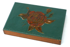 Hand Made Card Box With A Green Lid Containing An Orange Rose