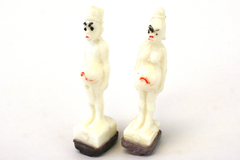 Lot Of Two Plastic Weighted Ethnic Figurine Game Pieces Or Stamps