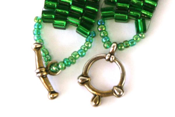Handmade Green Glass Beaded Bracelet w Toggle Clasp