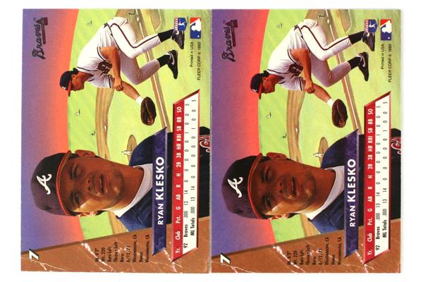 Lot of Two 1993 Baseball Ryan Klesko Fleer Ultra Rookie Cards #7 Atlanta Braves