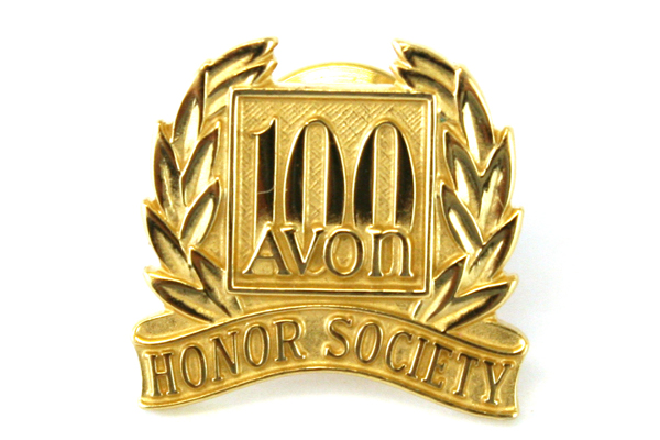 AVON 100 Honor Society Gold Tone Metal Pin Lapel