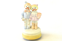 Bisque Clowns Rotating Musical Figurine