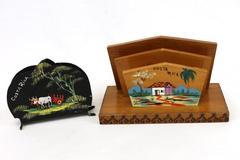 Lot of 2 Costa Rica Decorative Souvenir Napkin Letter Holder Sorter Metal Wood