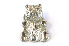 Teddy Bear Animal Silver Tone Metal Pin Lapel Brooch Jewelry