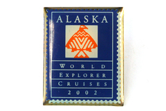 Alaska World Explorer Cruises 2002 Enamel Metal Gold Tone Lapel Pin Souvenir