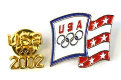 Lot of 2 USA Olympics Lapel Pins - Aminco Flag Pin & Gold Tone USA 2002 Pin