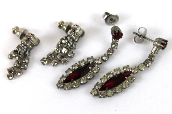 2 Vtg Holiday Costume Earrings Ruby Tone Marquis & Triple Tiered Rhinestone