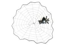 """15"""" Black Thread Spider Web W/ Rubber Spider Window Decor"""