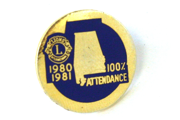 Alabama Lions Club Blue And Gold Tone Perfect Attendance Pin