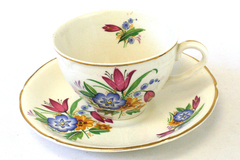 Vintage Midwinter Porcelain Spring Bouquet Cup And Saucer