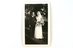 Vintage Real Snapshot Black & White Photograph 1944 Wedding Day Married Couple