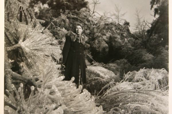 Vintage Real Snapshot Black & White Photograph Woman with Trees 4.75 x 3.5