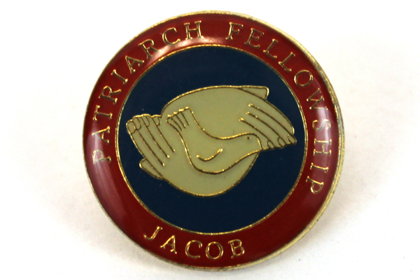 Vintage Patriarch Fellowship Jacob Pin Red Hands with Dove with Backing