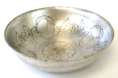 Vintage Wilson Metal Products Inc. Hand Wrought Aluminum Bowl With Floral Decor