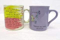 Lot of 2 Vintage Friend Coffee Mugs Hallmark Mate Blue Mountain Cups Mugs