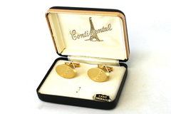 Vintage Gold Tone Continental Hand Engraved Cuff Links