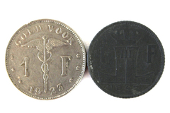Lot Of Two 1 Franc Coins From Belgium Dated 1923 And 1942