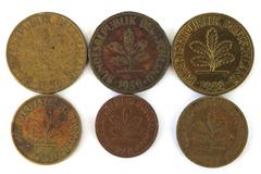 Lot of Six 1-5-10 Pfennig German Federal Republic Coins Dated 1949 1950 1988