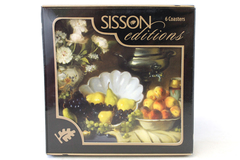 Sisson Editions Imports Cork Backed Still Life Coasters Set of 6 NIP Sealed