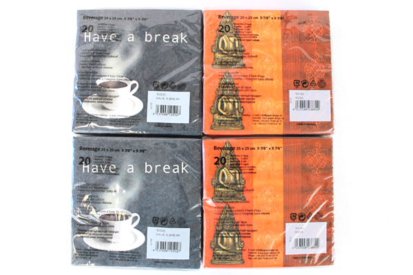 "80-ct Biodegradable Paper Design Beverage Napkins 10"" India/Have A Break"