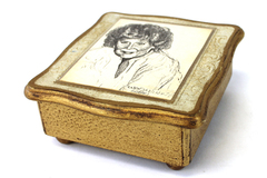 Vtg Antiqued Gold Wood Musical Jewelry Box Featuring A Portrait By Wendy Burnell