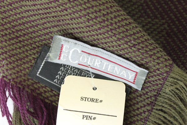 """New with Tag ~ Purple And Green C. C. Courtenay 48"""" Knit Wrap / Shawl / Scarf"""