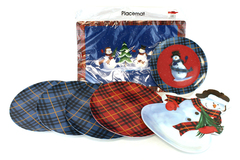 7-Pc Lot of Christmas Winter Snowman Plastic Placemat & Plates JoAnn Stores
