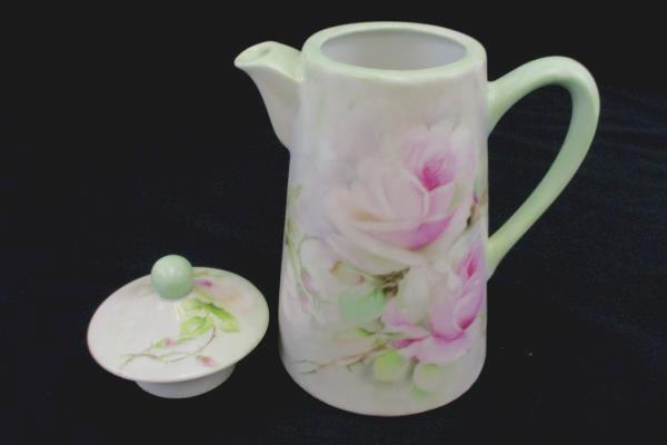 "Pastel Green Porcelain 8"" Tall Coffee Pot with Pink Floral Design Artist Signed"