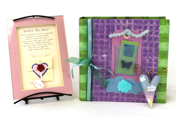 Gift Lot of 3 Hallmark Heart Ornament Sisters By Heart Matted Poem & Photo Album