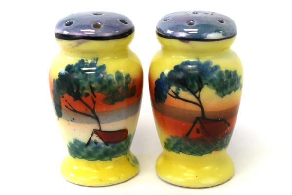 Vintage Miniature Hand Painted Sunrise Sunset Landscape Salt And Pepper Shakers