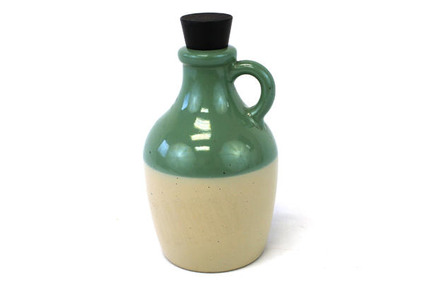 """5.75"""" Tall Green And Beige Painted Glass Perfume Bottle Jug"""