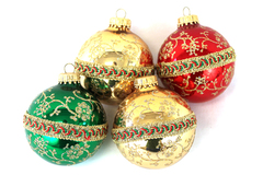 """Four 2.5"""" Glass Ball Ornaments With A Ribbon Center Stripe And Glitter Flowers"""