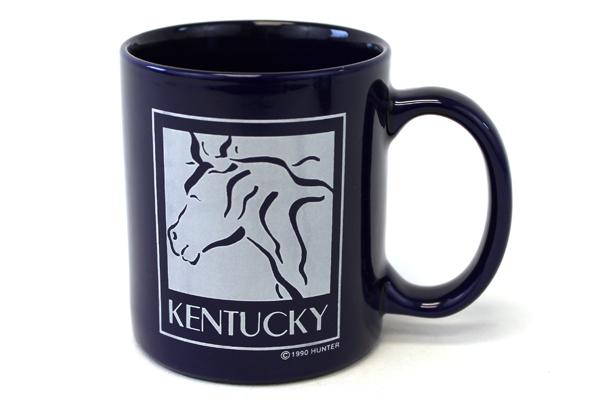 Kentucky USA Horse 1990 Hunter Dark Blue Glazed Ceramic Collectible Cup Mug