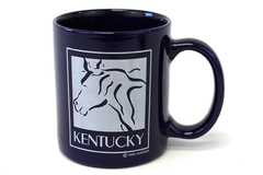 Kentucky USA Horse 1990 Hunter Dark Blue Glazed Ceramic Collectible Cup Mug