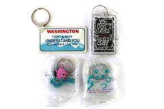 Lot of 4 Washington Humor Pig Puyallup Acrylic Plastic Keychains