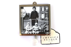 """America Retold Antique Nickel 4"""" Square Photo Frame Wall Hook White Porcelain"""
