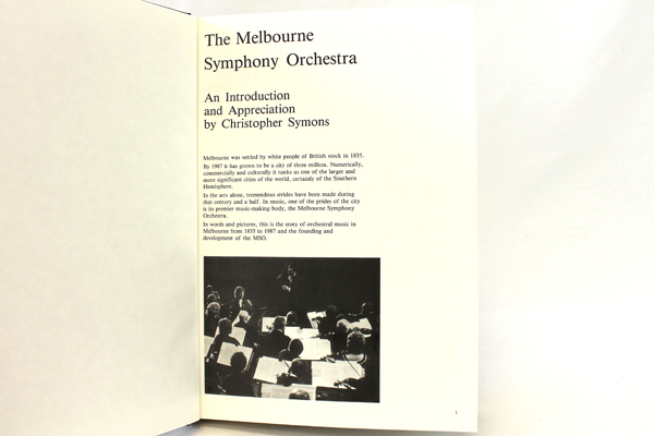 The Melbourne Symphony Orchestra: An Introduction and Appreciation 1987 Symons