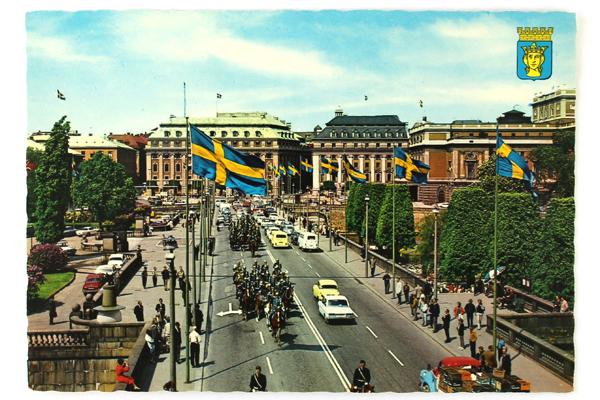 Vintage Swedish Postcard City Royal Guard of Sweden in Stockholm