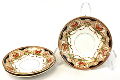Royal Vale England Lot of 3 Porcelain China Saucers Floral Black Red Green