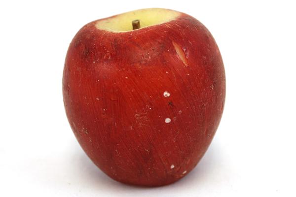 Painted Apple-Shaped Wax Decorative Candle - Unburned