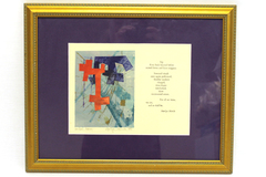 '88 Frame Sign Marilyn Maricle Watercolor Poem Portland Oregon Mono Relief Print