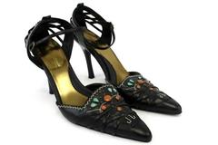 Women's Anne Michelle Fuel Black Shoes Pointy Toe Ankle Strap Cut Out Size 8