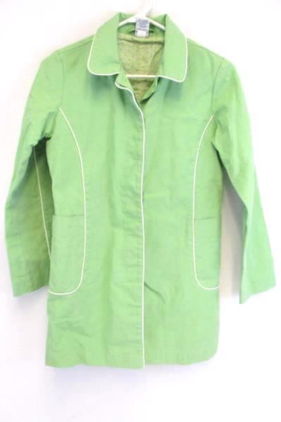 Old Navy Girls Youth XL Light Green Jacket With White Piping Button Up