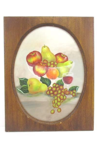 Painting on Canvas Still Life Fruit Wine Framed Oval Signed by Artist Acrylic