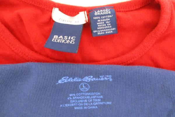 Lot of 2 Eddie Bauer Basic Editions Short Long Sleeve Women's Top Shirt Blouse L