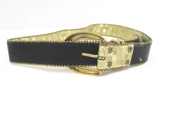 "Vintage Elite 1980's Gold Tone Checkered 1"" Belt #1195 Beaded Trim Gold Buckle"