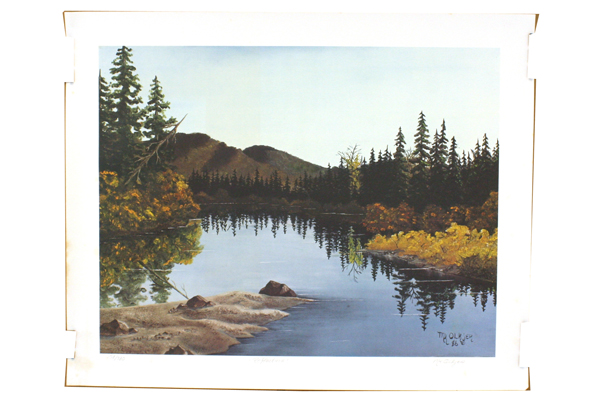 Reflections By Mary Kay Olkjer Signed Numbered Offset Lithograph Mountain Lake