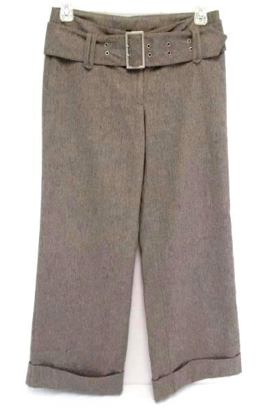 H&M Divided High Waisted Tweed Belted Cuffed Slacks Wide Leg Trouser Pants Women